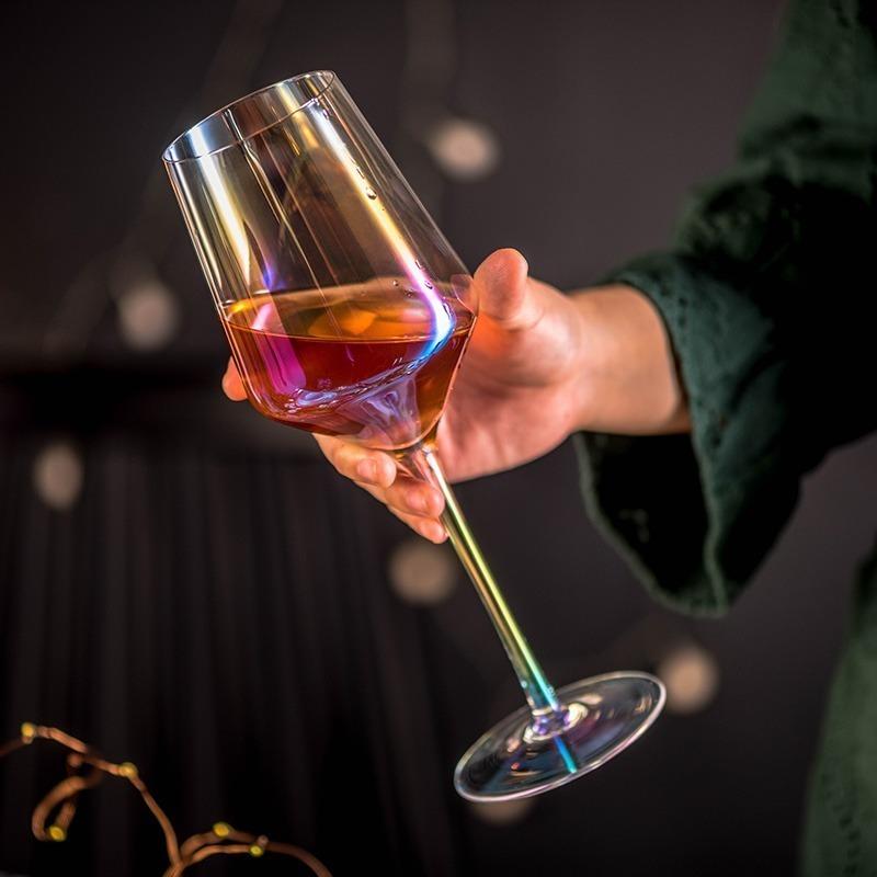 LDL991# 2 ピースセット 結婚式 乾杯 ワイングラス パーティー ワイン ギフト レインボー プレゼント コップ ガラス 食器 おしゃれ_画像1