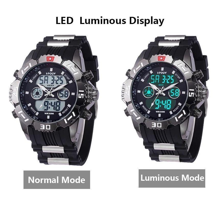 LDL719#海外メーカー アナログメンズ&デジタル メンズスポーツ クオーツ 腕時計クォーツ アナデジ LED 防水 スポーツウォッチ_画像4