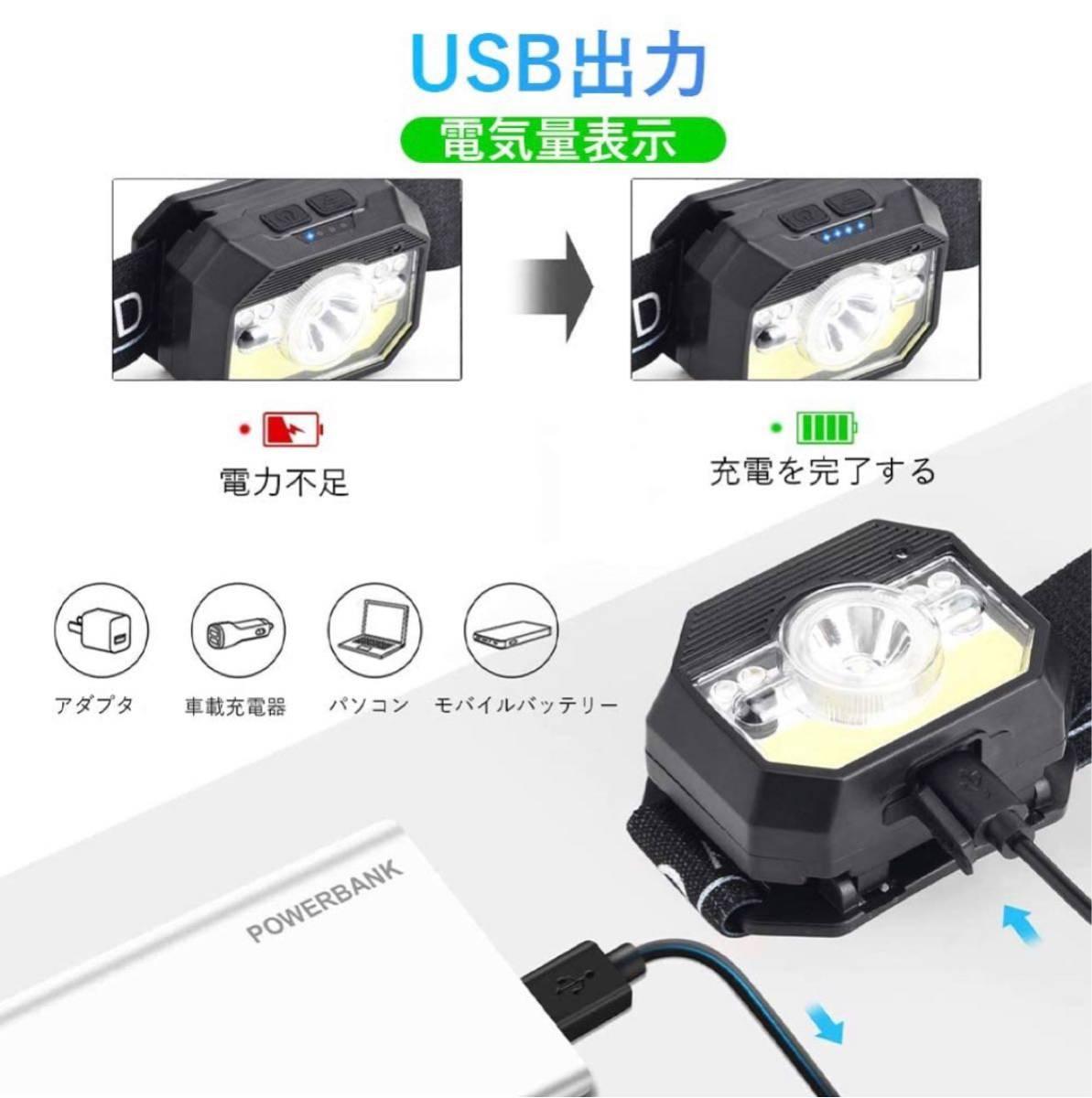 LEDヘッドライト 充電式 USB へっとライト 白&青&赤色サブ LEDライト 高輝度 明るい ヘッドランプ センサー機能付き