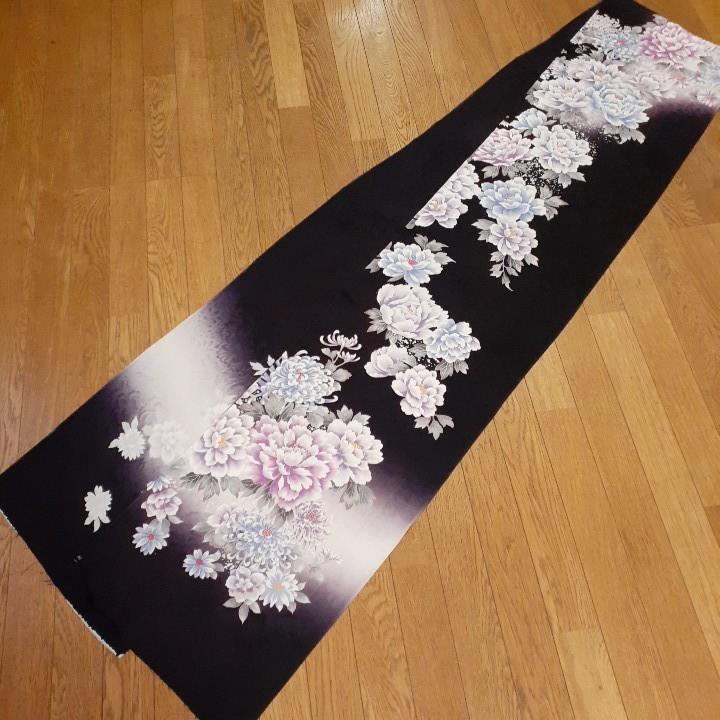 正絹 43105 濃い紫 花柄 菊 シルク 3m はぎれ ハギレ リメイク ハンドメイド