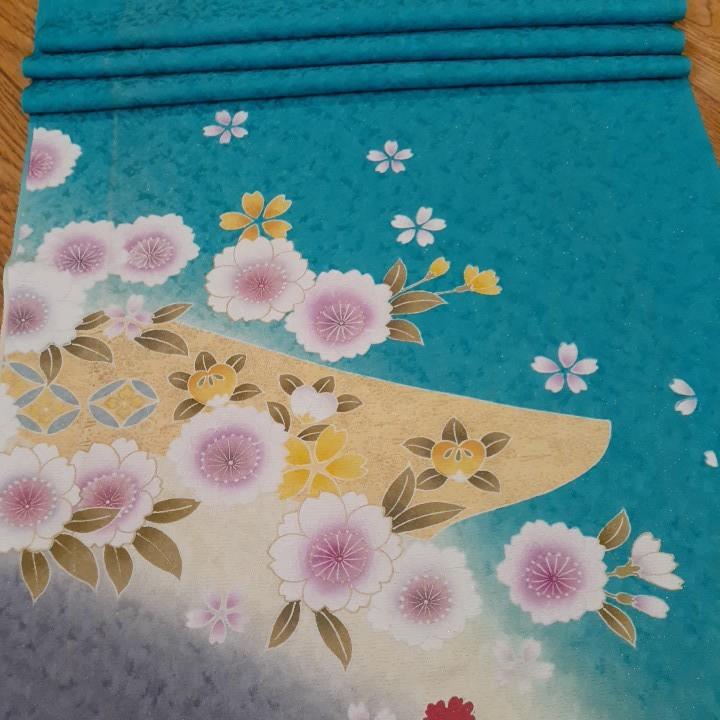 正絹 43108 水色 花柄 桜 シルク 3m はぎれ ハギレ リメイク ハンドメイド