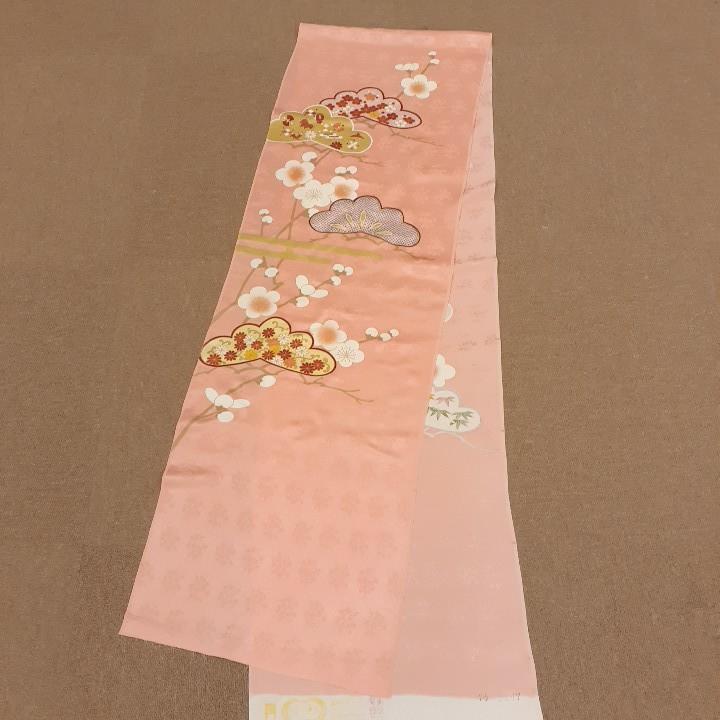 正絹 50601 振袖生地 淡いピンク 松竹梅 シルク 2m はぎれ ハギレ リメイク ハンドメイド