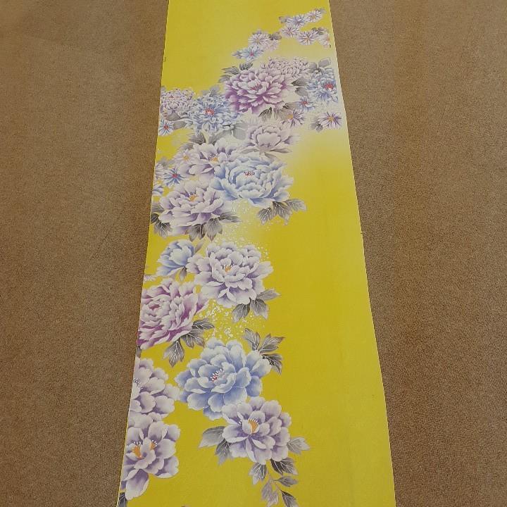 正絹 51305 レモン色黄色 菊 シルク3m はぎれ ハギレ リメイク ハンドメイド