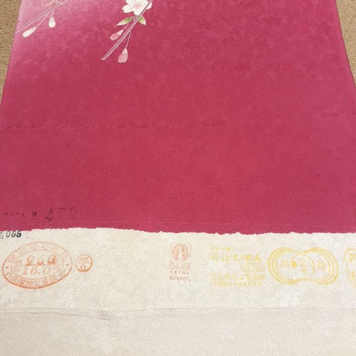正絹 51801 黒色 ピンク色 花柄 さくら はぎれ ハギレ リメイク ハンドメイド