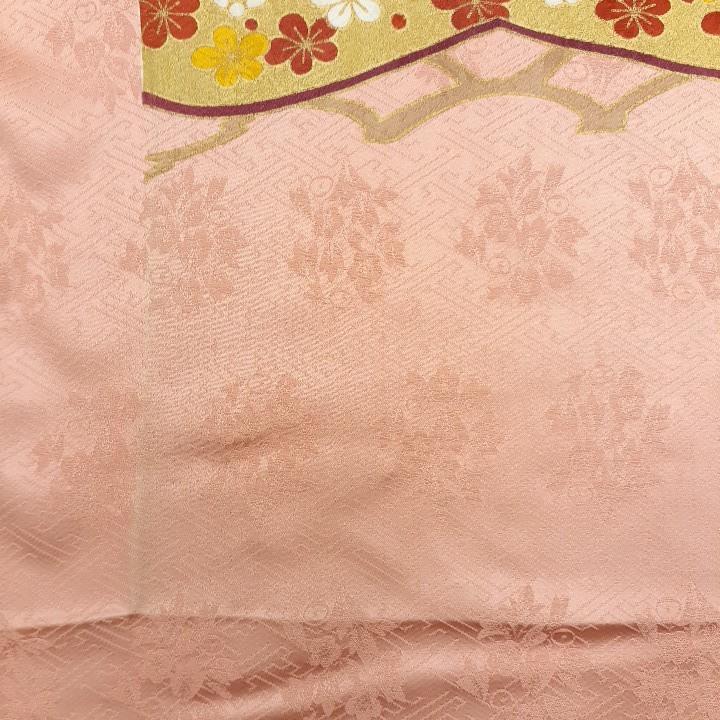 正絹 52063 ピンクオレンジ色 松竹梅 シルク 無地 はぎれ ハギレ リメイク ハンドメイド
