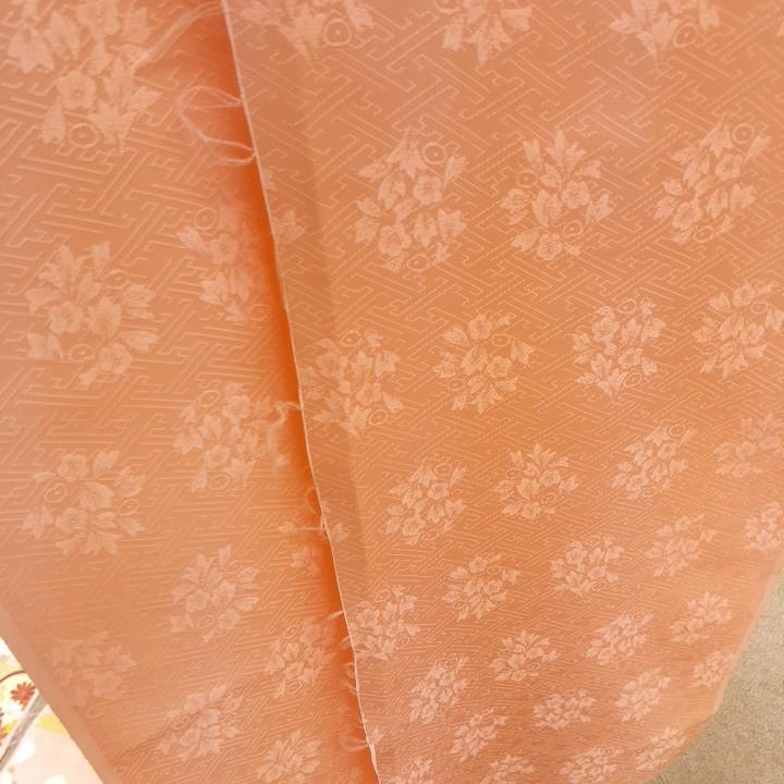 正絹 52102 淡いピンク色 松竹梅 疋田 シルク はぎれ ハギレ リメイク ハンドメイド