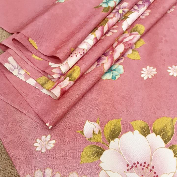 正絹 52802 ピンク 白色 花柄 シルク 230cm はぎれ ハギレ リメイク ハンドメイド
