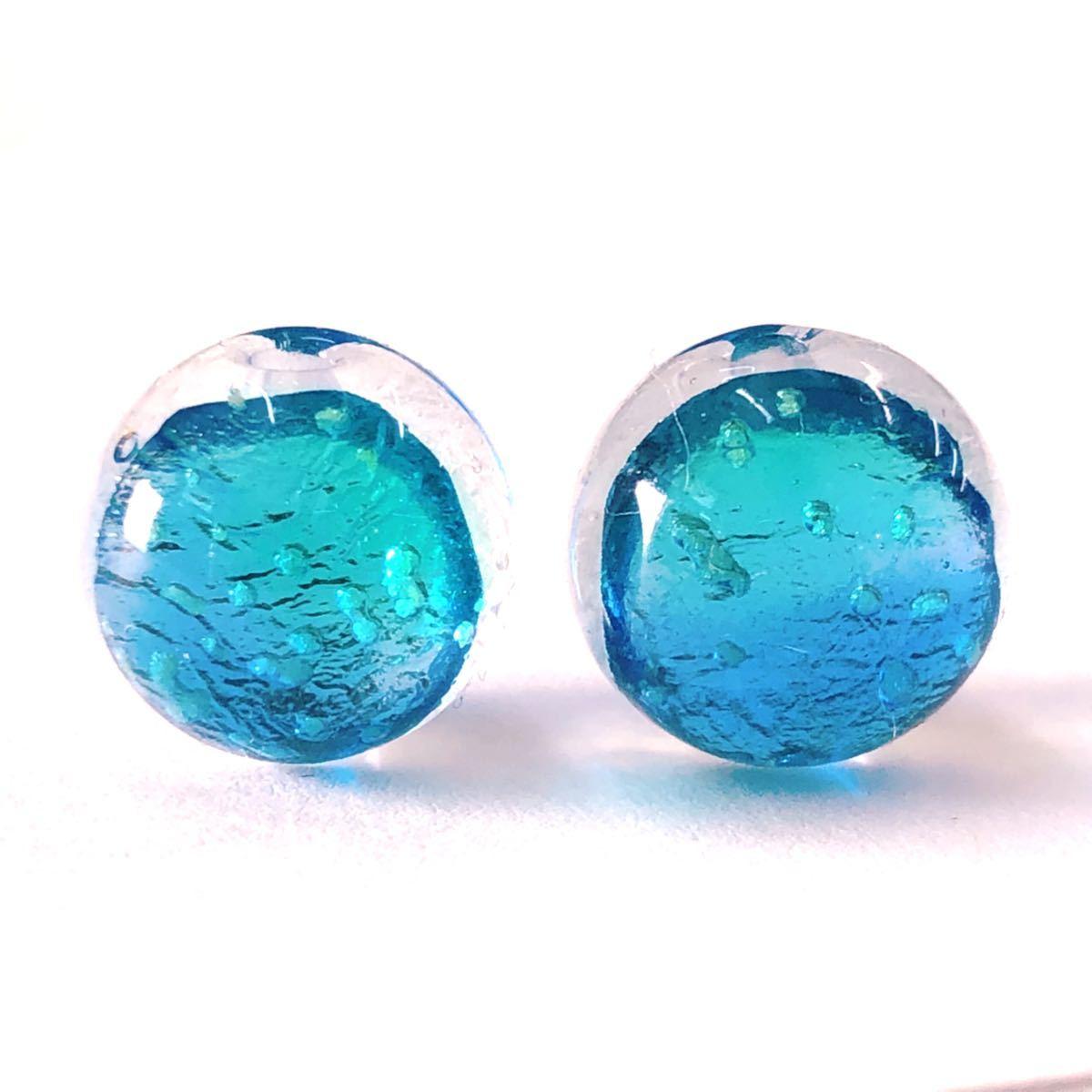 蓄光 ホタルガラス 12mm 連売り ブレスレット2本分 33粒 沖縄とんぼ玉  カビラブルー