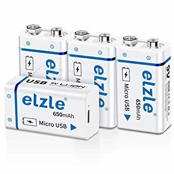 9V電池 4個セット 【充電器不要!USB充電可能】9v 電池 USB充電式 elzle 4個 リチウムイオン充電池 650mA_画像1
