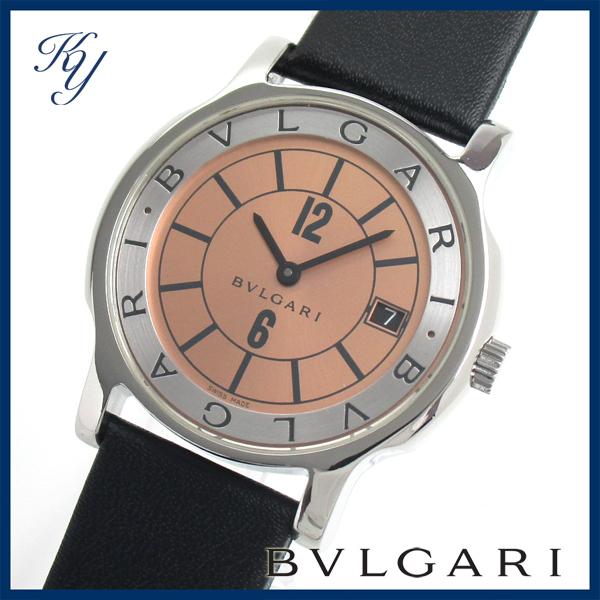 1円~ 価格高騰 3ヶ月保証付き 磨き済み 美品 本物 BVLGARI ブルガリ ソロテンポ ST35S 革ベルト オレンジ メンズ 時計