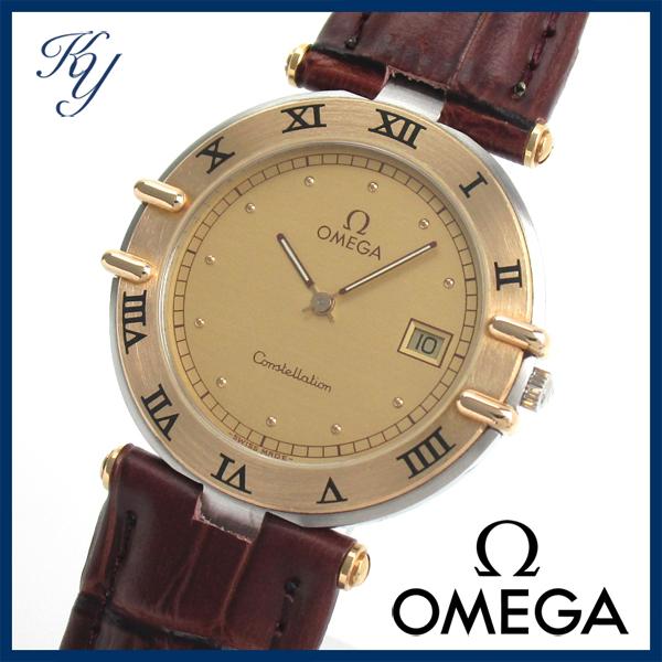1円~ 3ヶ月保証付き 磨き済み 美品 本物 定番 OMEGA オメガ コンステレーション K18 革ベルト メンズ 時計