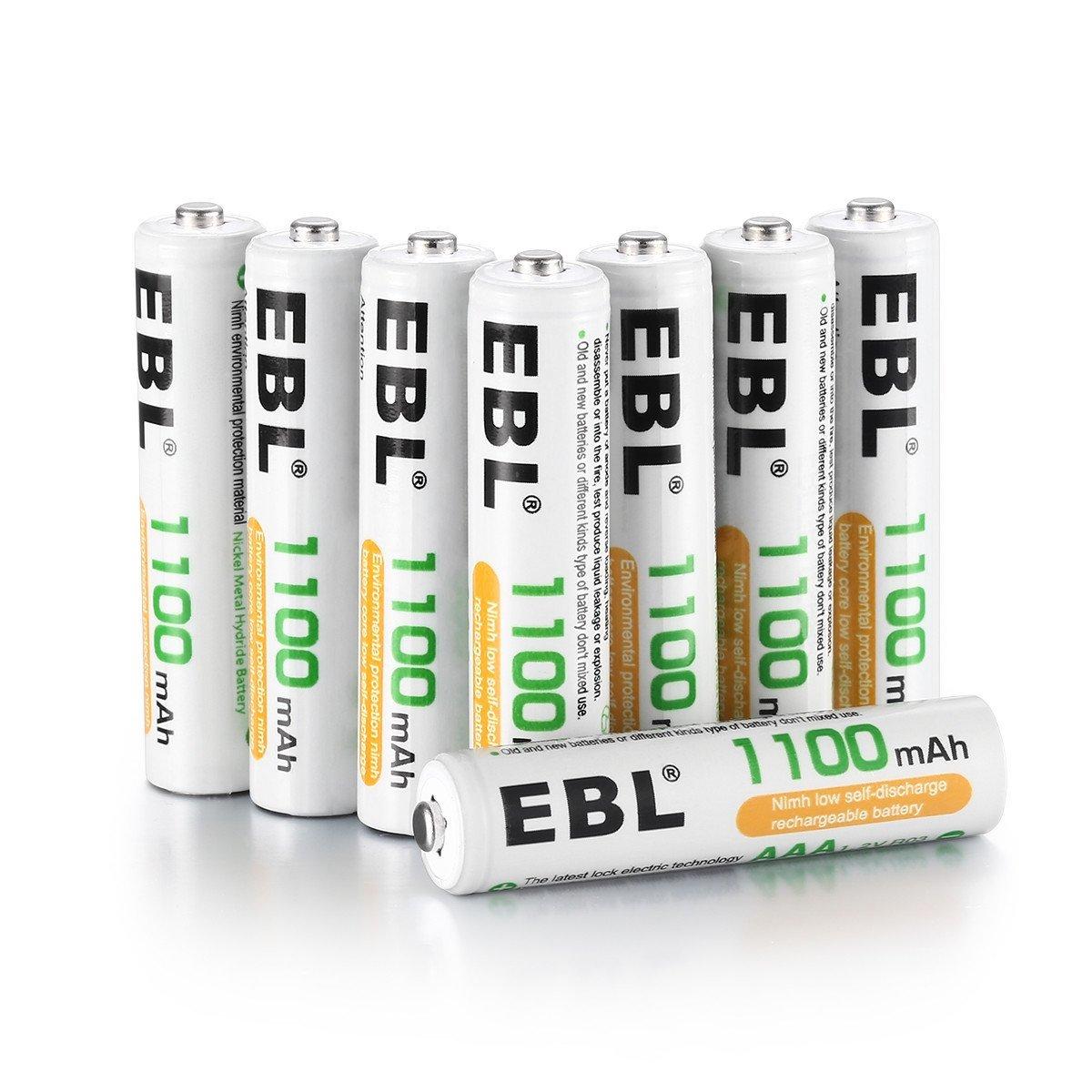 EBL 単4形充電池 充電式ニッケル水素電池 高容量1100mAh 8本入り 約1200回使用可能 ケース2個付き 単四充電池 _画像1