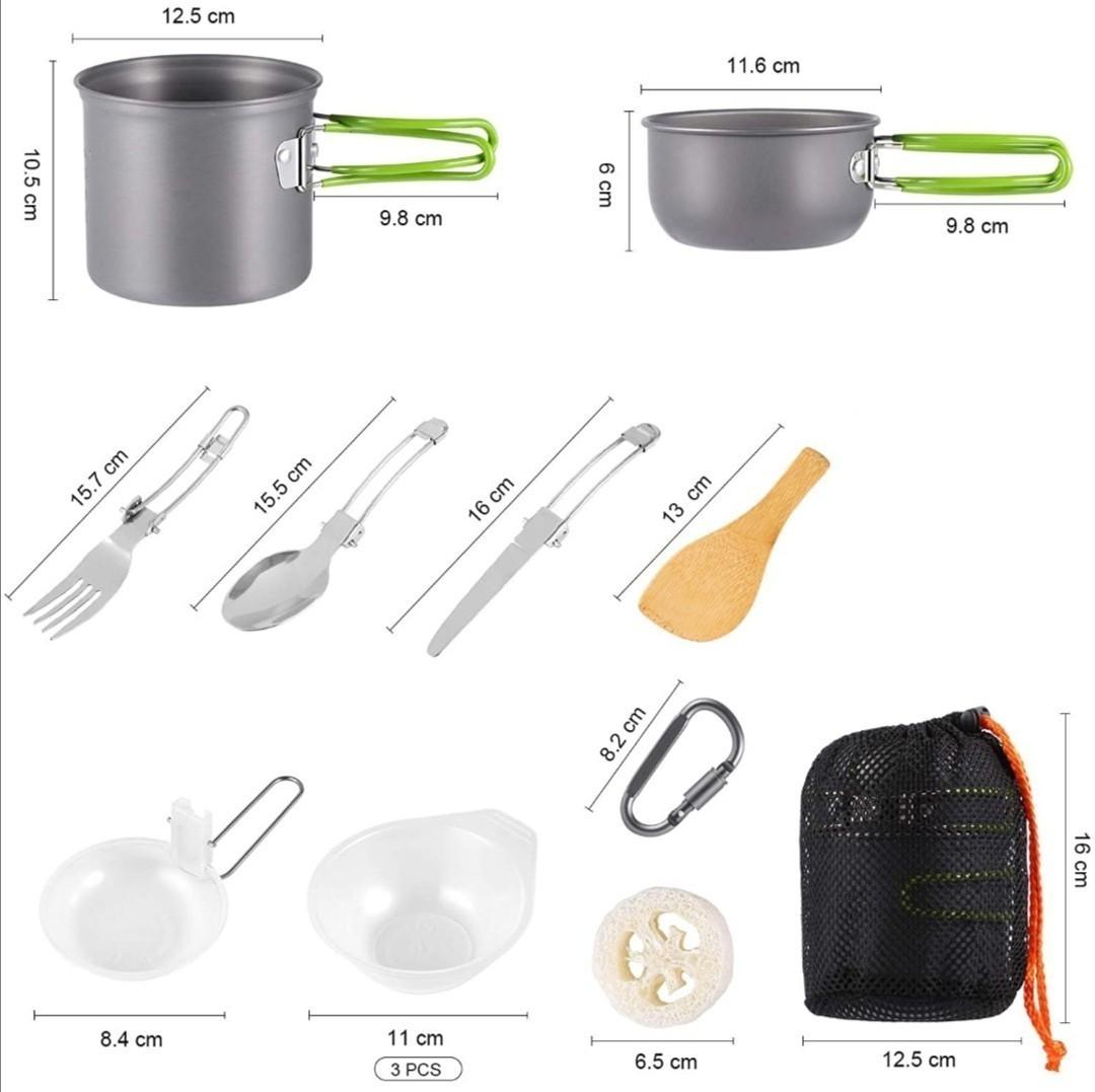 キャンプ用食器 キャンプクッカーセット 調理セット 登山用鍋 食器 ポータブル キャンピング鍋 屋外 収納袋付き 1-2人
