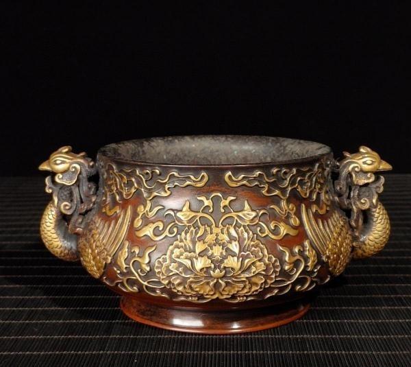 明代 満工 高浮き彫り 牡丹鳳凰紋紫銅香炉_画像5