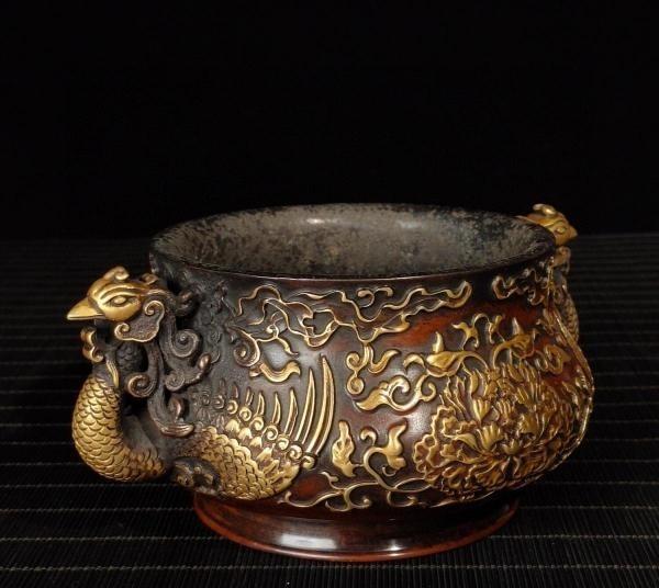 明代 満工 高浮き彫り 牡丹鳳凰紋紫銅香炉_画像2