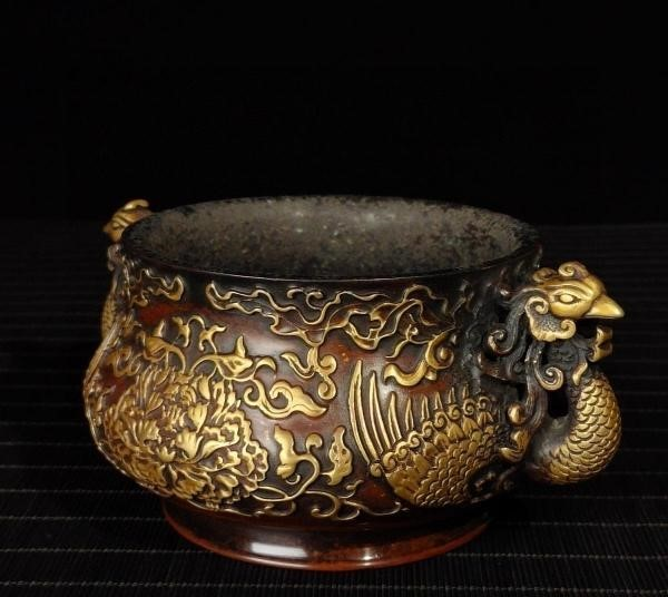 明代 満工 高浮き彫り 牡丹鳳凰紋紫銅香炉_画像3