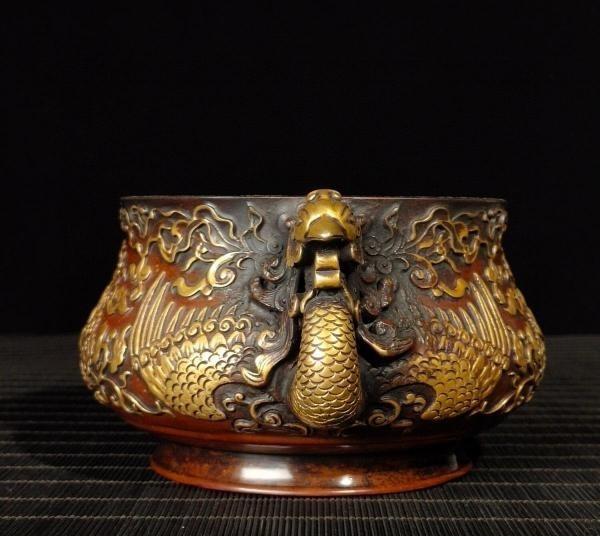 明代 満工 高浮き彫り 牡丹鳳凰紋紫銅香炉_画像4