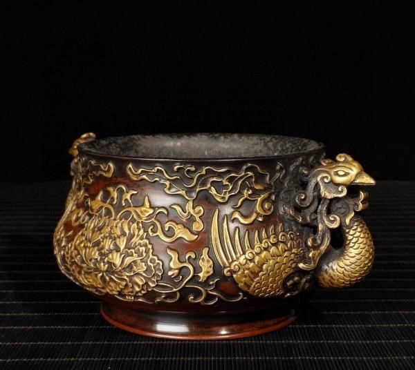 明代 満工 高浮き彫り 牡丹鳳凰紋紫銅香炉_画像6