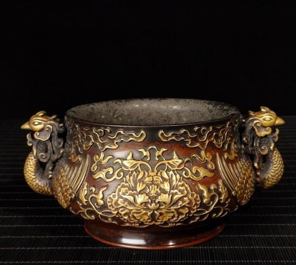 明代 満工 高浮き彫り 牡丹鳳凰紋紫銅香炉_画像1