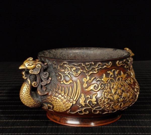 明代 満工 高浮き彫り 牡丹鳳凰紋紫銅香炉_画像7