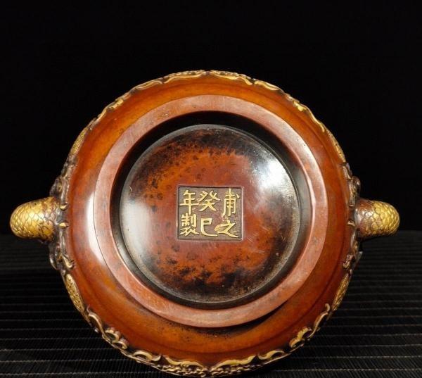 明代 満工 高浮き彫り 牡丹鳳凰紋紫銅香炉_画像9