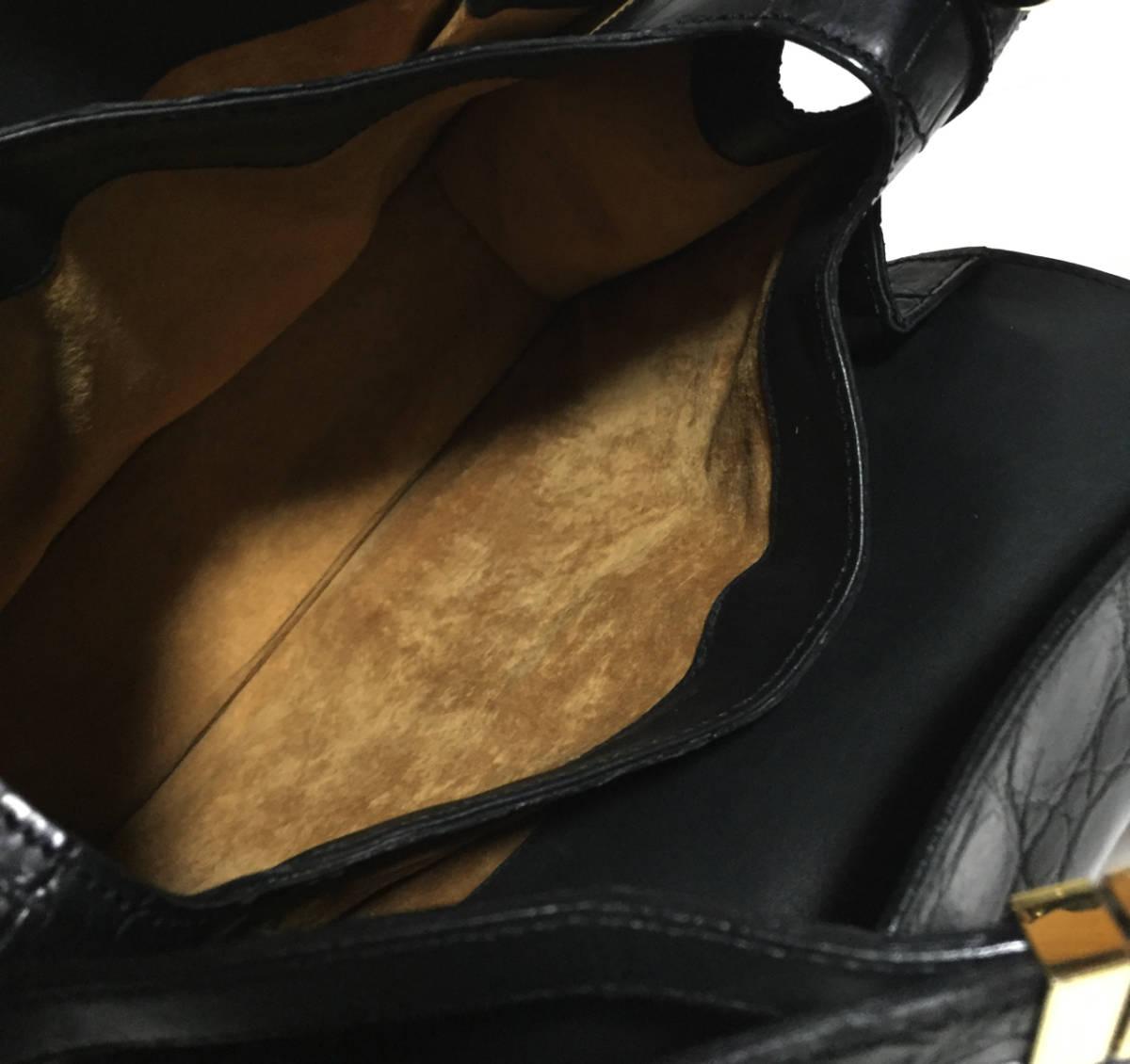 美品 イタリア製 MAURO GOVERNA マット クロコダイル レザー ハンドバッグ ショルダーバッグ ブラック マウロゴヴェルナ ワニ革_画像8