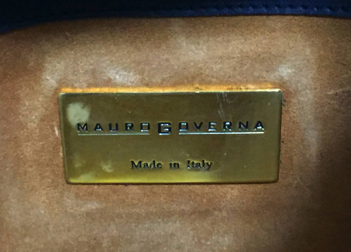 美品 イタリア製 MAURO GOVERNA マット クロコダイル レザー ハンドバッグ ショルダーバッグ ブラック マウロゴヴェルナ ワニ革_画像9