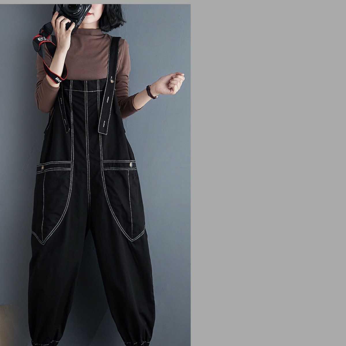 サロペット オーバーオール オールインワン ボトムス パンツ メンズ レディース L ブラック 黒 ゆったり デニム アジアン 韓国 オルチャン