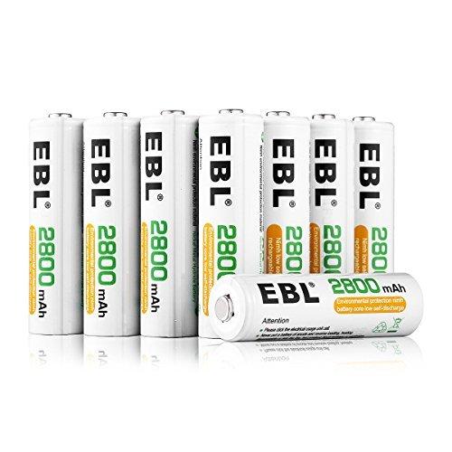 ホワイト 単3形充電池 16本 EBL 単3形充電池 充電式ニッケル水素電池 高容量2800mAh 16本入り ケース4個付き _画像1