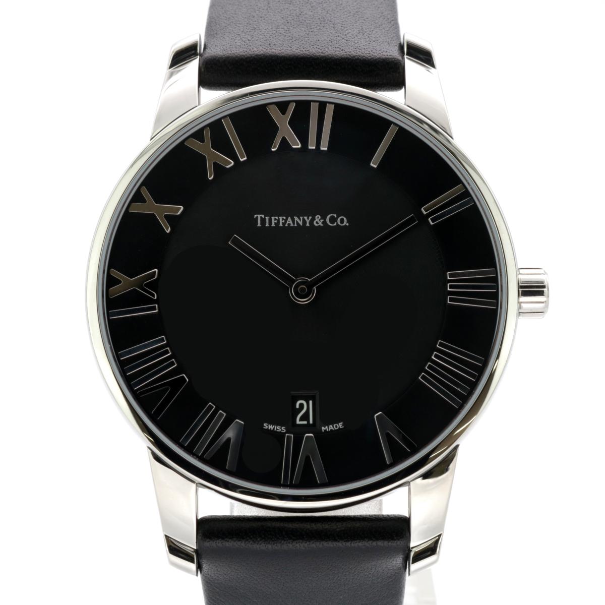 [ティファニー] TIFFANY Atlas Dome 腕時計 Z1800.11.10A10A52A ブラック文字盤 バッファロー革ベルトタイプ クォーツ 未使用B / AC0272
