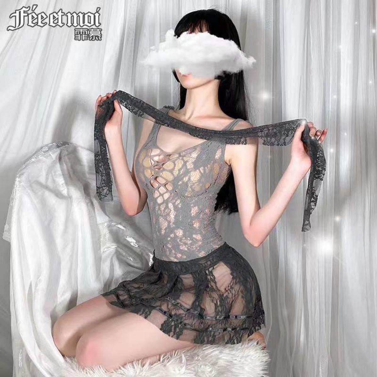 セクシーランジェリー コスプレ衣装 透け透け 花柄