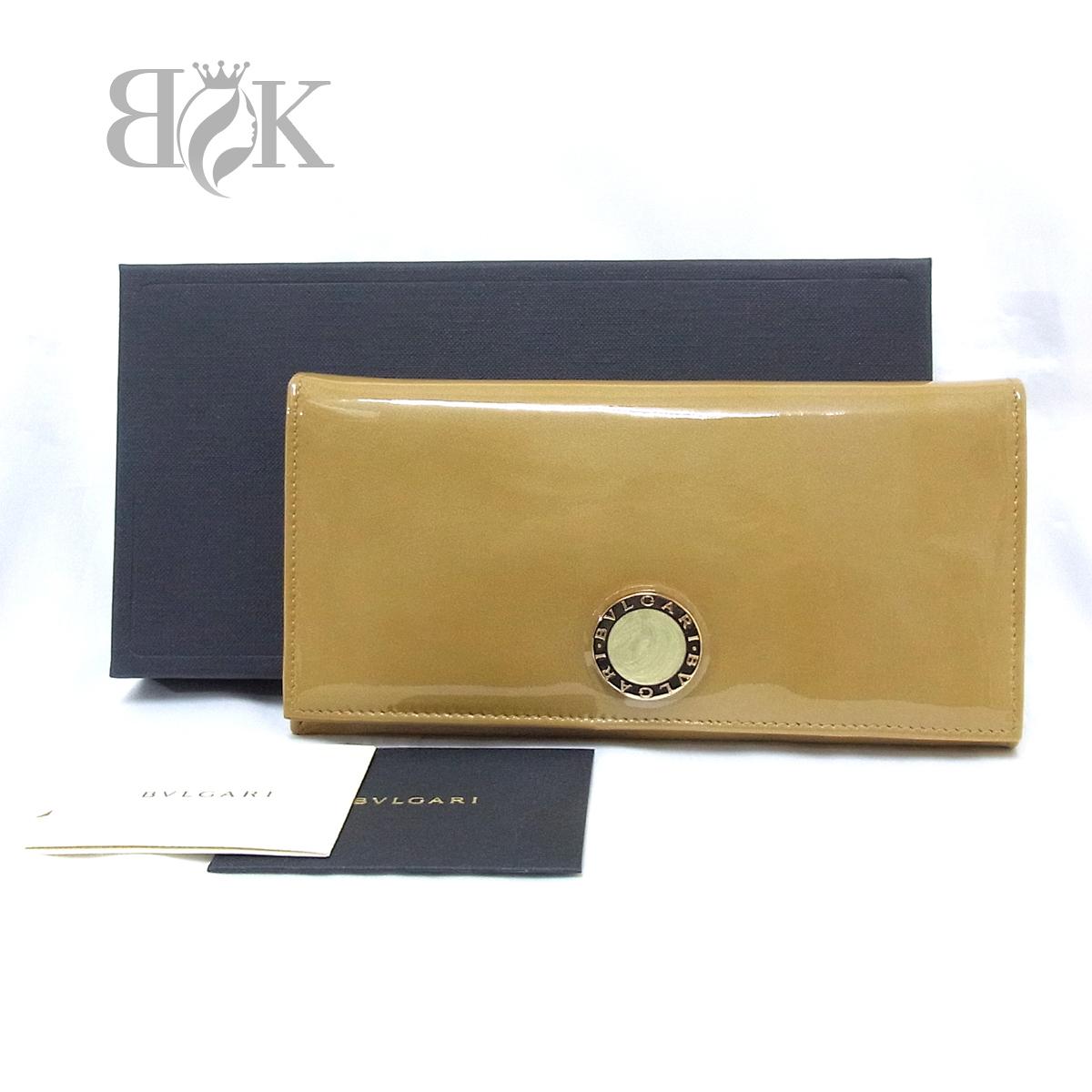 ブルガリ 33761 エナメル アンティークゴールド 長財布 未使用 ● $_画像1