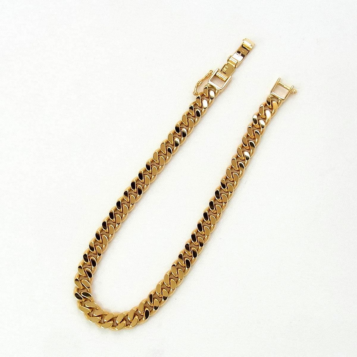 展示品 K18 喜平 2面 シングル ブレスレット 20.2g 長さ:18cm 幅:5.3mm イエロー ゴールド 造幣局刻印 ∞_画像3