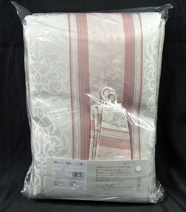◆即決◆ 新品 アウトレット品 ユニベール 厚地カーテン アングル RO 100×178cm 2枚入 形状記憶 洗濯可能 フック付 ローズ ピンク 植物柄_画像5