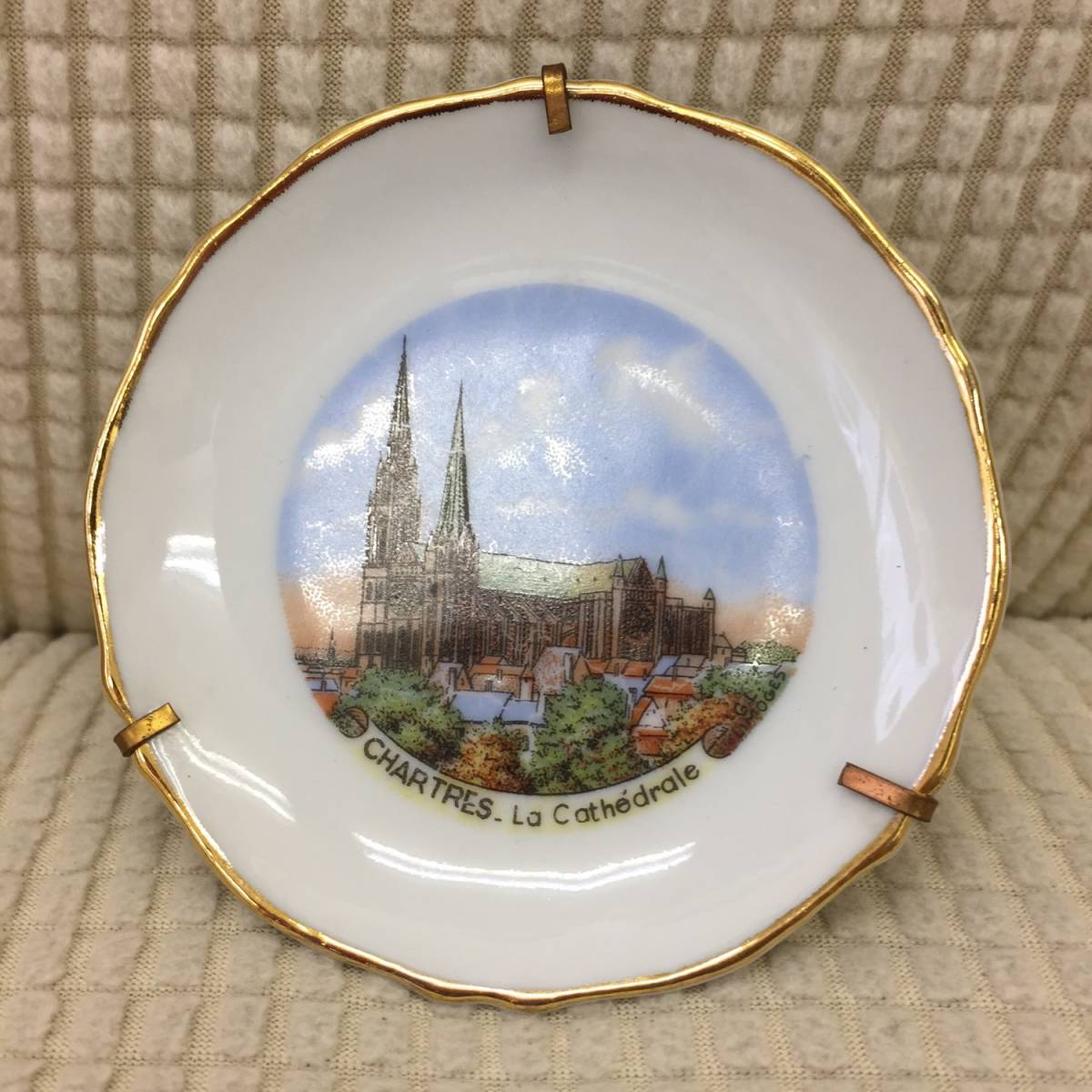 飾り皿 インテリア リモージュ フランス製 シャルトル大聖堂 リモージュ磁器 リモージュ焼 Porcelaine de Limoges 小皿 アンティーク風_画像1