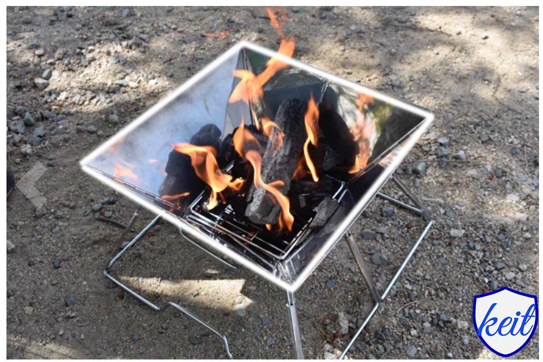 バーベキュー コンロ 焚き火台 アウトドアコンロ 折りたたみ BBQコンロ 1台2役 2-4人用 ステンレス鋼