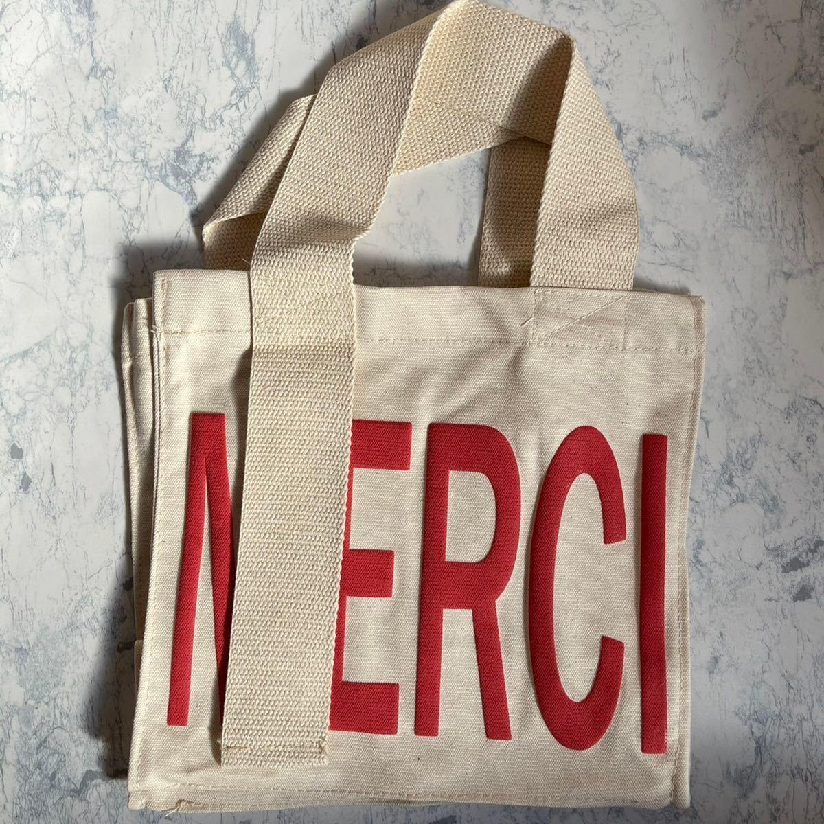 キャンバス トートバッグ ベージュ A4 大容量 メルシー ロゴ マザーズバッグ 韓国 エコバッグ 通勤 通学 海外 merci