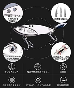 20g*5個 LDT ルアー アイアンマービー バイブレーション メタルジグ セット 遠投 必殺ヒラメ 海釣り シーバス 太刀魚_画像2