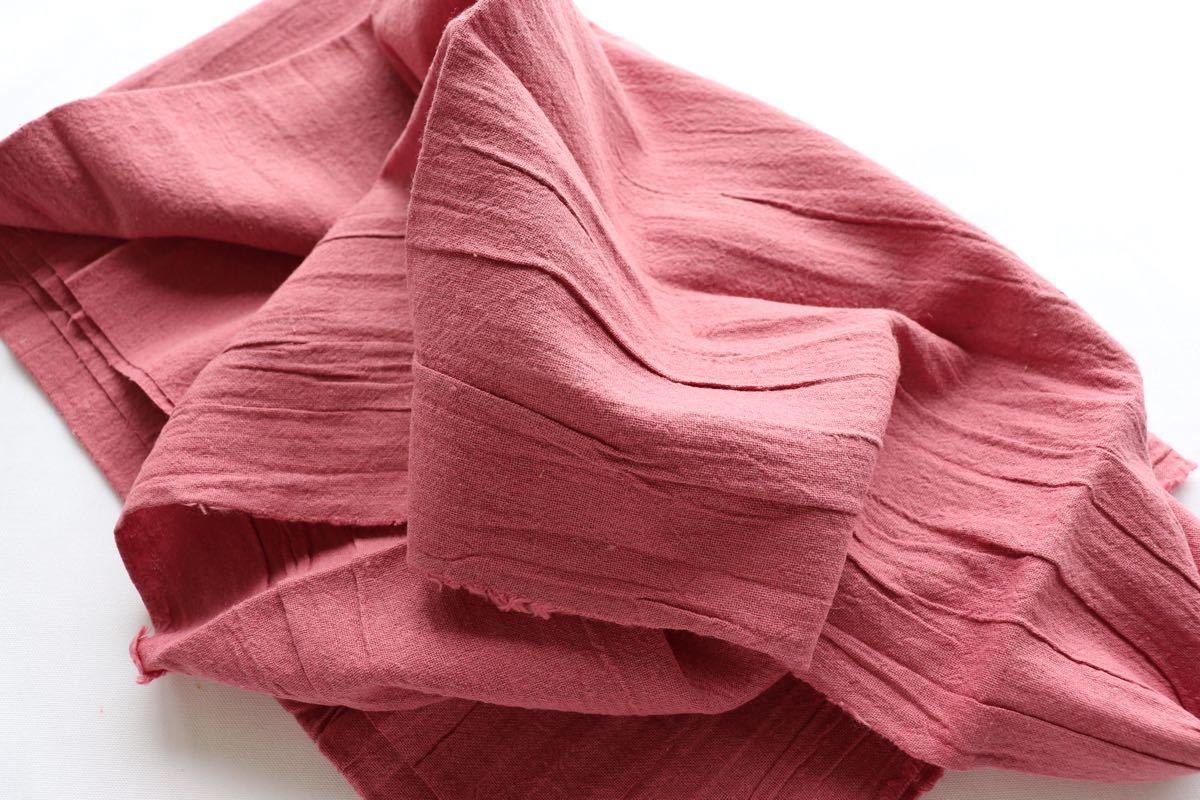 綿麻キャンバス ワッシャー加工 1m 濃いピンク