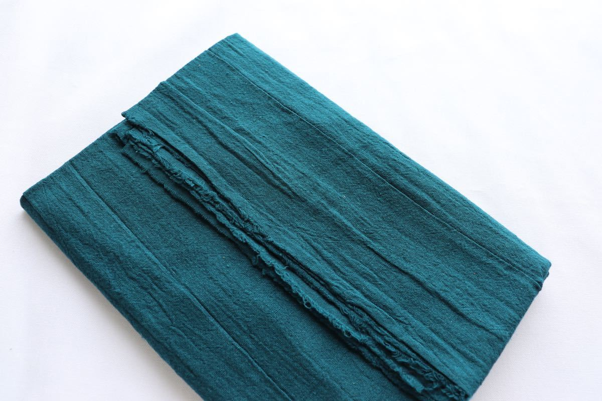 綿麻キャンバス ワッシャー加工 1m ブルーグリーン