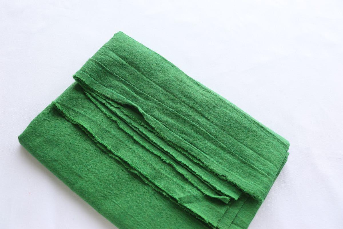 綿麻キャンバス ワッシャー加工 1m グリーン