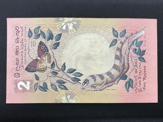 ★外国紙幣 スリランカ★ 2ルピー 紙幣 1979年 魚 トカゲ 蝶 ◇4054_画像2