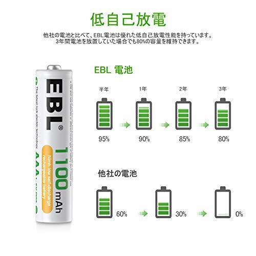 EBL 単4充電池 8個パック EBL 単4充電池 充電式 ニッケル水素充電池 8本入り 高容量充電池 1100mAhで長持ち_画像5