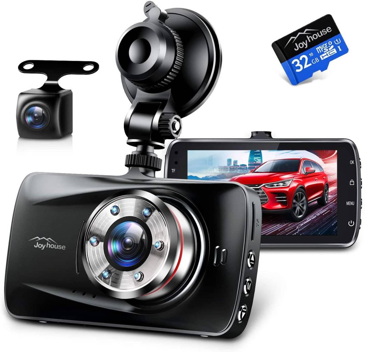 ドライブレコーダー 前後カメラ Sonyセンサー&赤外線暗視ライト. 1296PフルHD高画質 170度広角視野 操作簡単 高速起動 駐車監視 常時録画_画像1