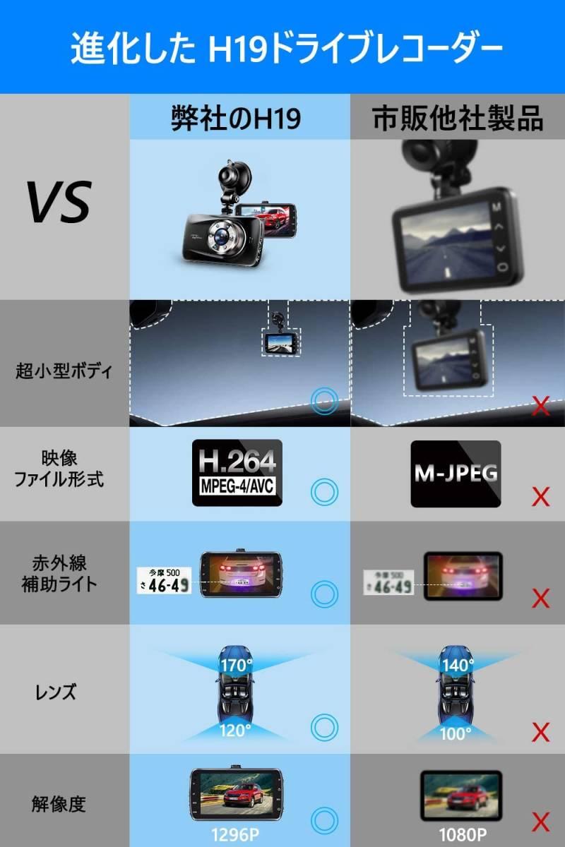 ドライブレコーダー 前後カメラ Sonyセンサー&赤外線暗視ライト. 1296PフルHD高画質 170度広角視野 操作簡単 高速起動 駐車監視 常時録画_画像7