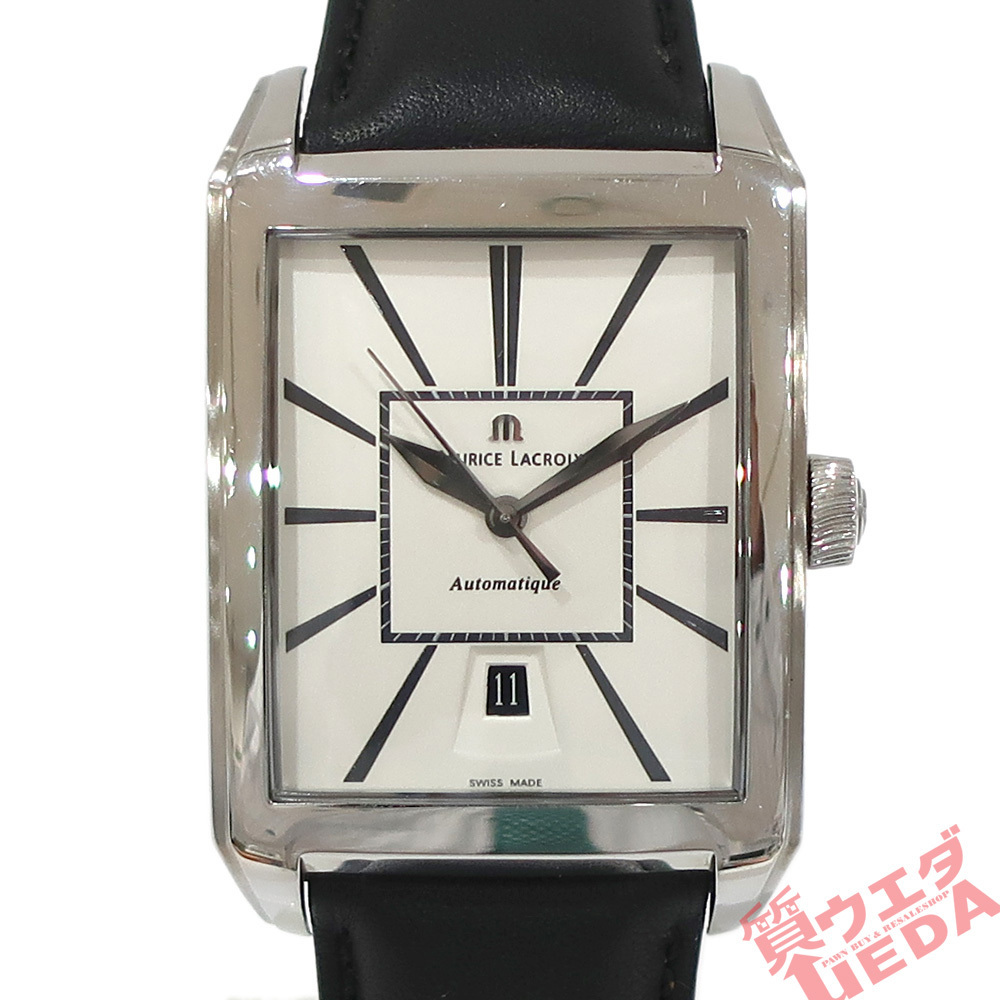 【栄】モーリスラクロア レクタンギュラー PT6127 SS×革 ホワイト 白 自動巻き メンズ 腕時計