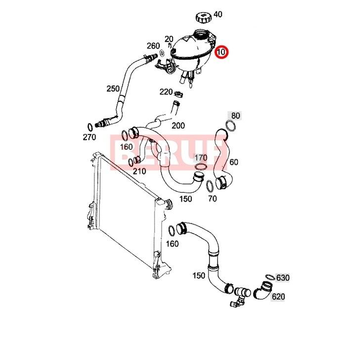 メルセデスベンツ ラジエーターサブタンク BEHR製 GLKクラス X204 GLK300 GLK350 2045000549 エキスパンションタンク_画像2