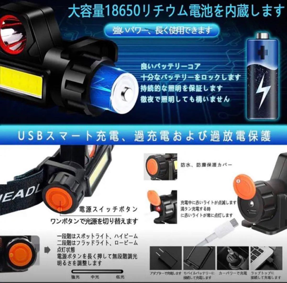 LEDヘッドライト USB充電式 90°回転 キャンプ 夜釣り 登山