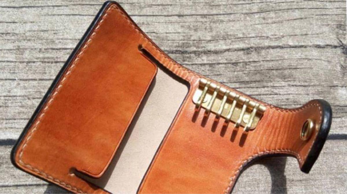 【レザークラフト】キーケース アクリル型 ハンドメイド 手作り 手作りキーケース オリジナル 革細工