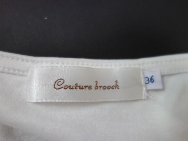 クチュールブローチ Couture Brooch ★可愛いピンクの肩リボン カットソー★白/ホワイト色★サイズ36★Tシャツ★袖レース_画像6